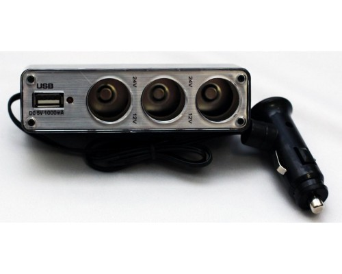 ACTIVCAR ACT-WF-0096 РАЗВЕТВ.ПРИКУРИВАТЕЛЯ 3 ВЫХОДА + USB