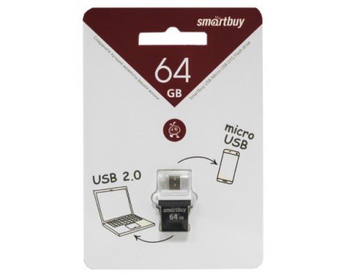 ФЛЭШ-КАРТА SMART BUY  64GB POKO OTG ЧЕРНАЯ USB + MICRO USB