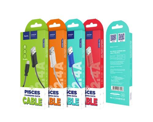 HOCO КАБЕЛЬ USB-iPHONE 5-8 X24 Pisces КРАСНЫЙ 1.0м